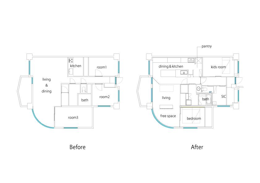 リノベーション施工案件:行實邸間取 | CRAFT WORKS. | 株式会社CWT | クラフトワークス | 新築、店舗、住宅、マンションのリフォームとリノベーション | 福岡県北九州市